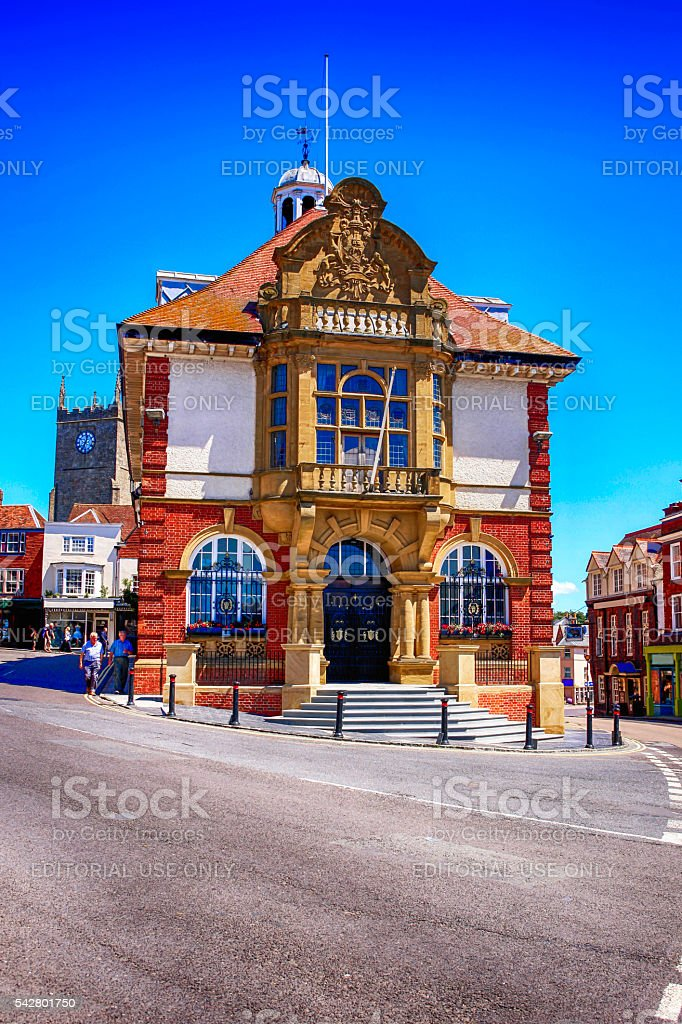 Town Hall building in Marlborough, UK stock photo