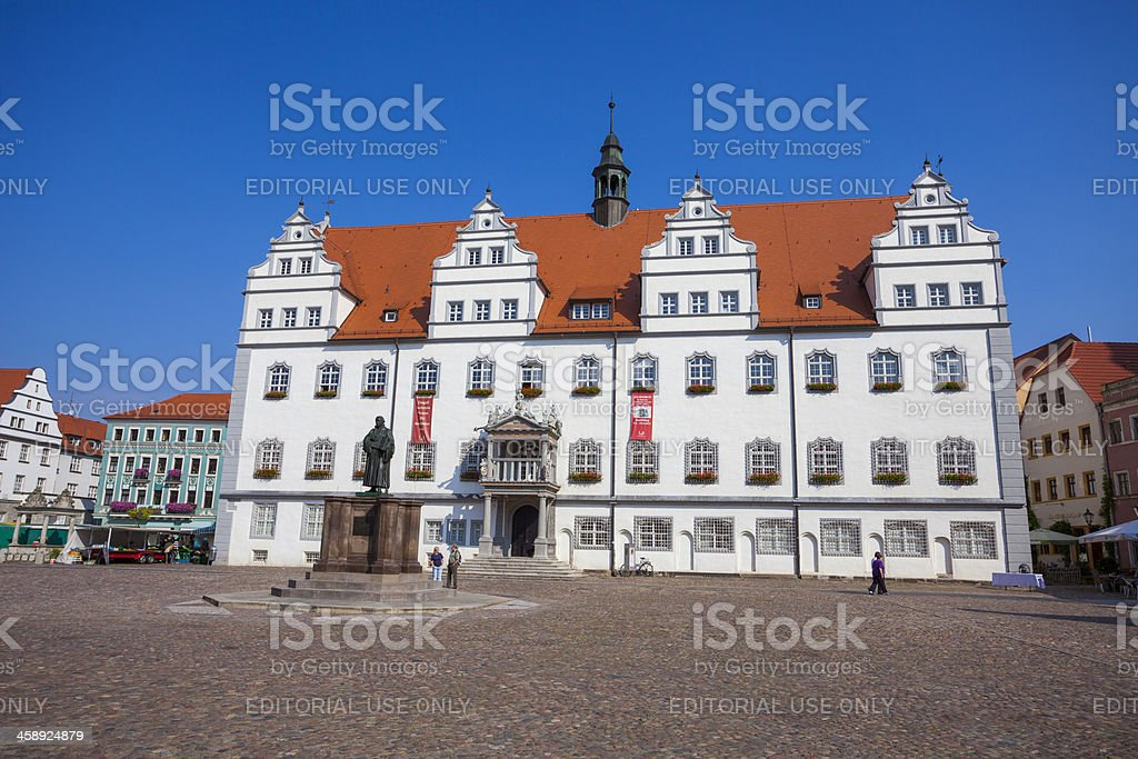 Town hall building, Lutherstadt Wittenberg stock photo