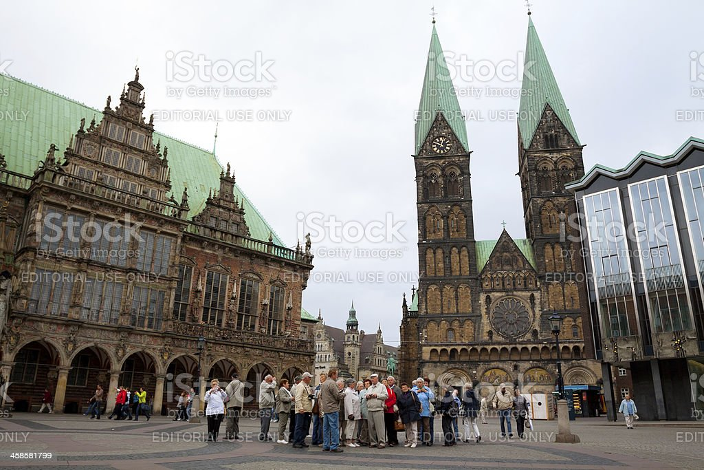 Town hall, cathedral and tourists in Bremen stock photo