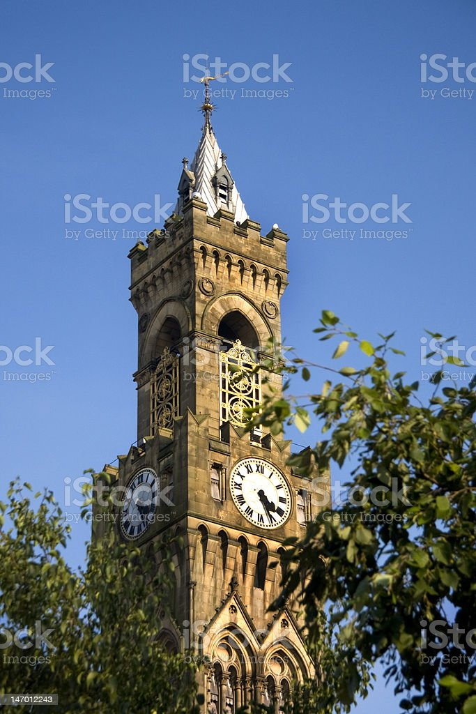 Town Hall clock Bradford, West Yorkshire royalty-free stock photo