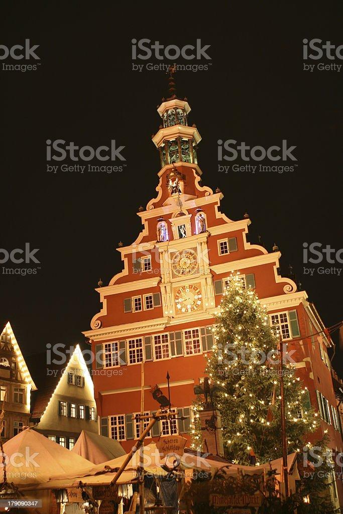 Town hall Esslingen christmas market royalty-free stock photo