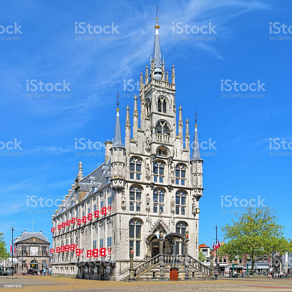 Town Hall in Gouda, Netherlands stock photo