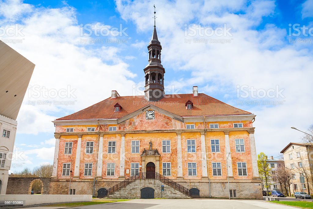 Town Hall in Narva town, Estonia stock photo