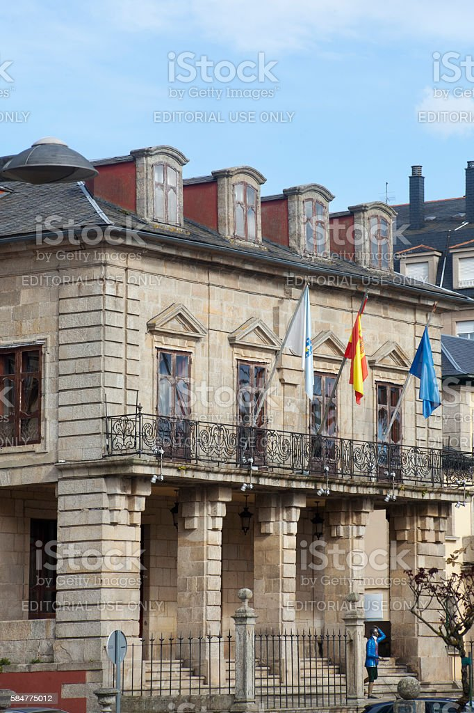 Town hall in Ribadeo, Galicia, Spain. stock photo