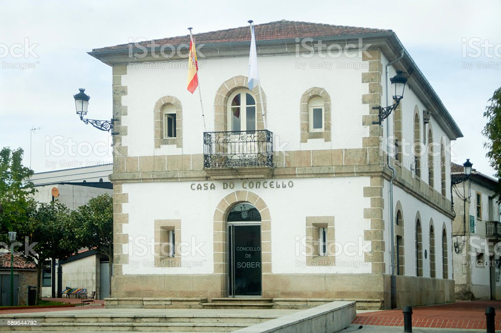 Town hall in Sober, Lugo province, Galicia, Spain. stock photo