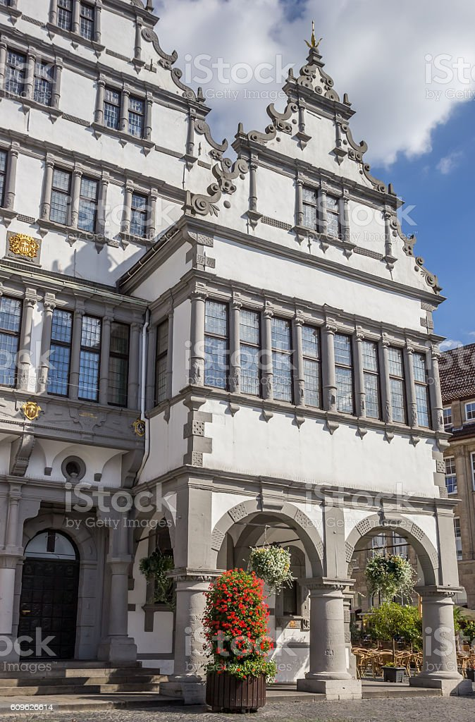 Town hall in the historical center of Paderborn stock photo