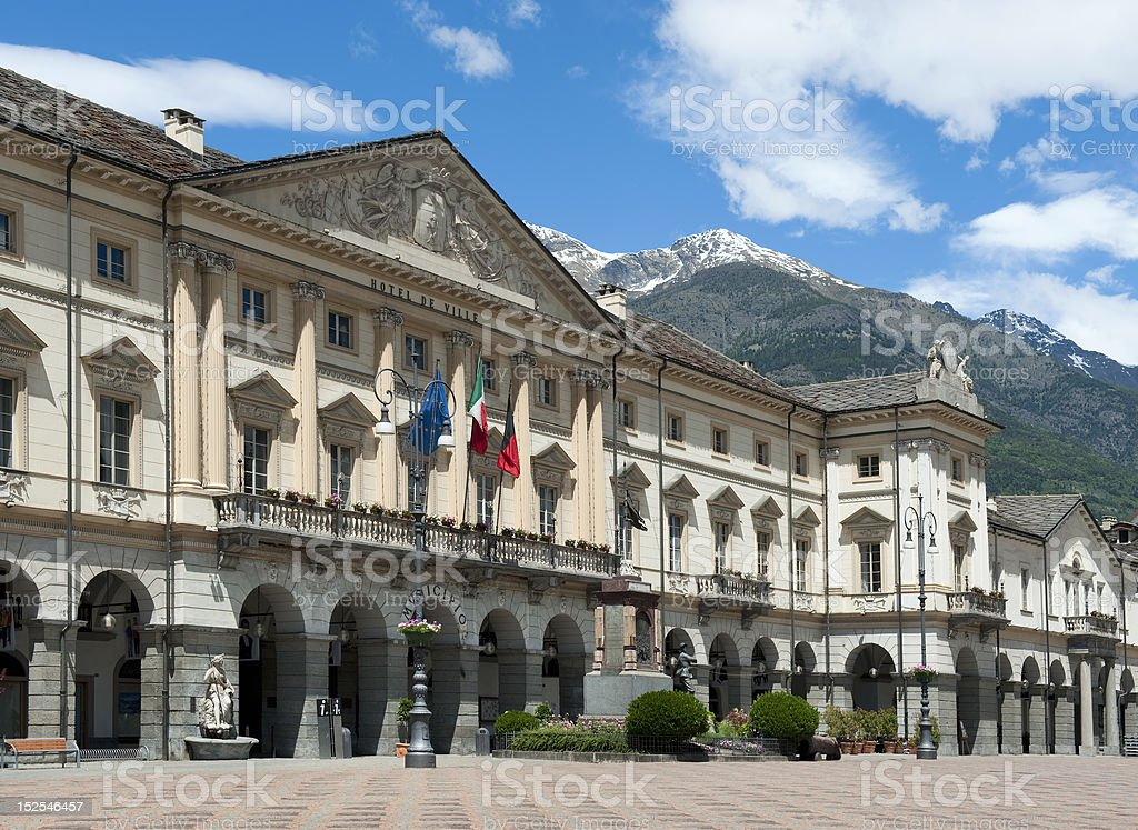 Town hall of Aosta in Italy. stock photo