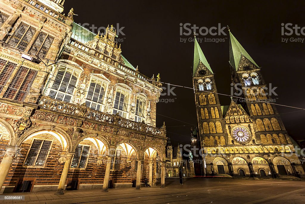 Town hall of Bremen by night stock photo