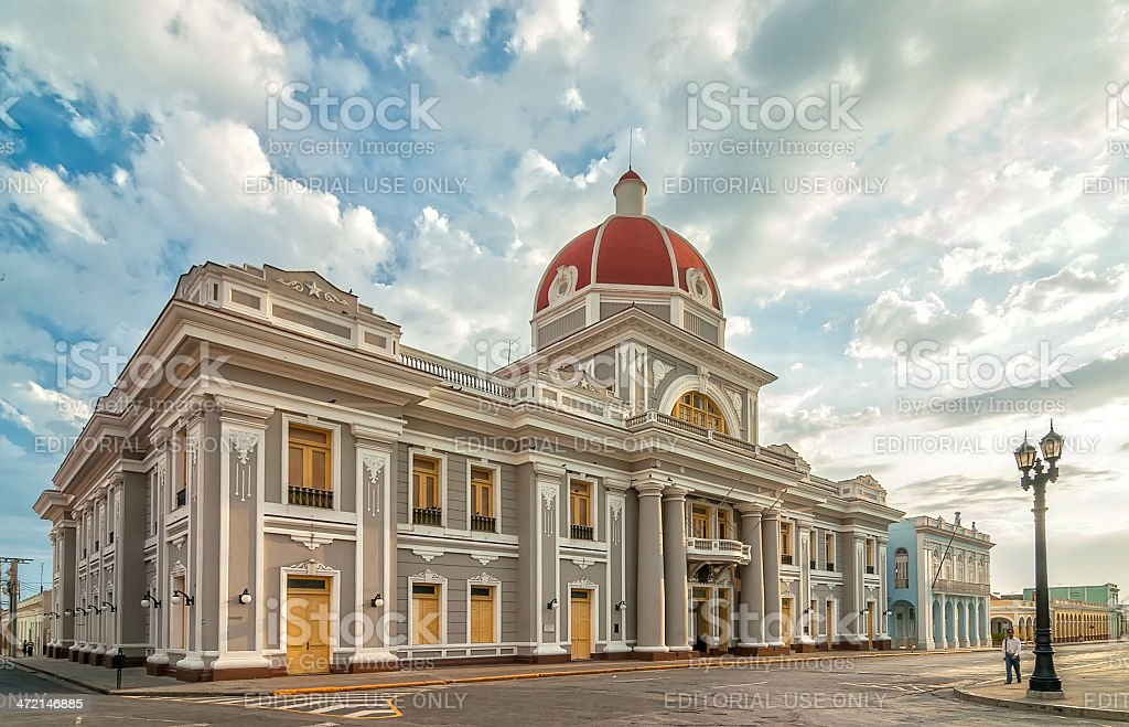 Town hall of Cienfuegos city at Jose Marti park stock photo