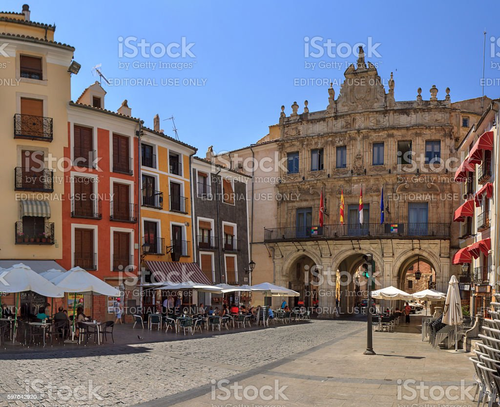 Town hall of Cuenca on Plaza Mayor, Spain stock photo