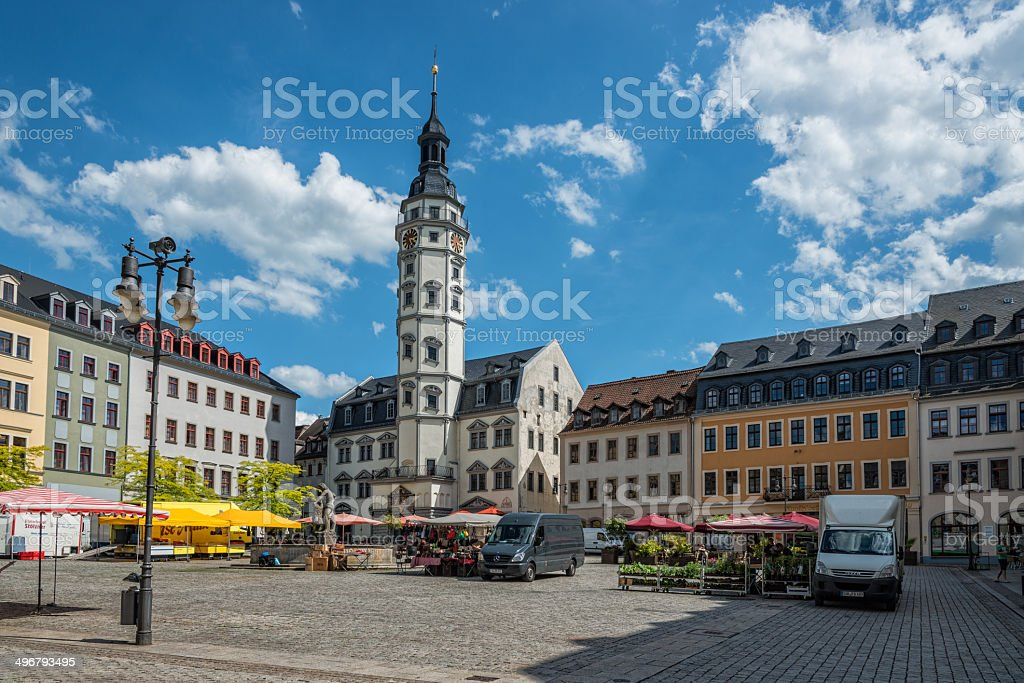 Town hall of Gera / Thuringia Germany and market stock photo