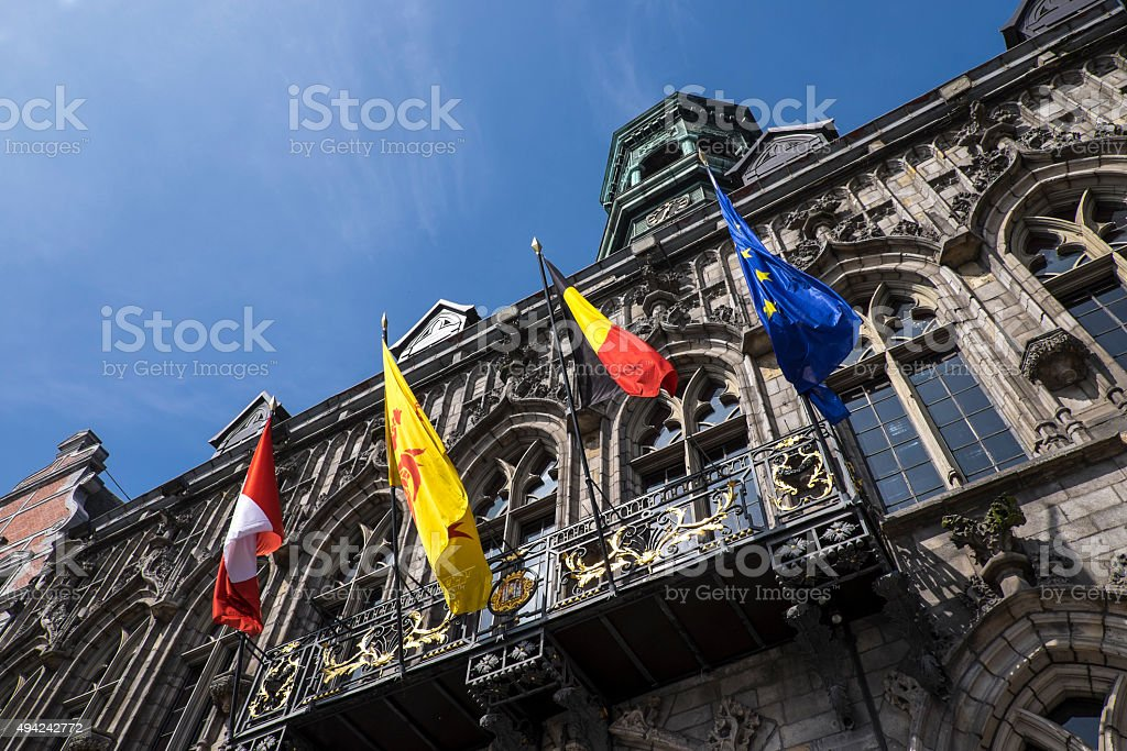 Town Hall of Mons stock photo