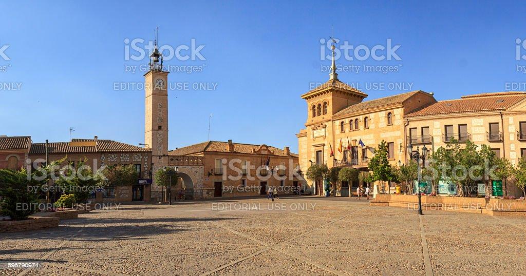 Town hall on Plaza España in Consuegra, Spain stock photo