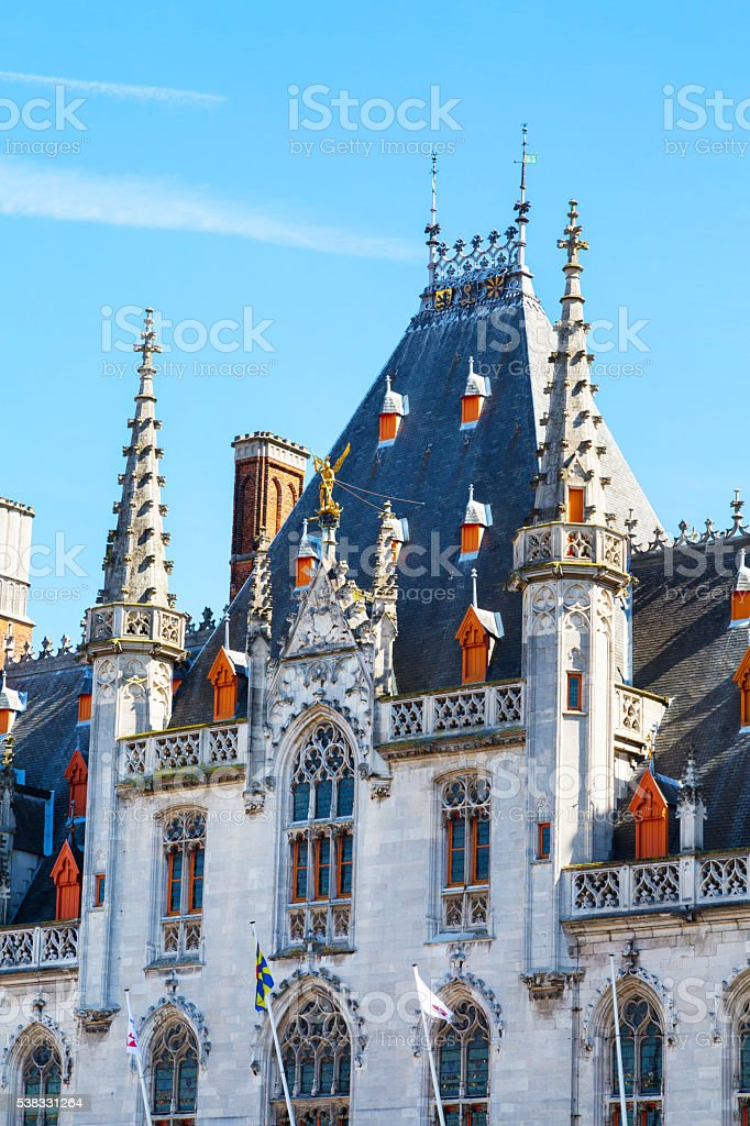 Town Hall, Provinciaal Hof building details, Grote Markt, Brugge, Belgium stock photo