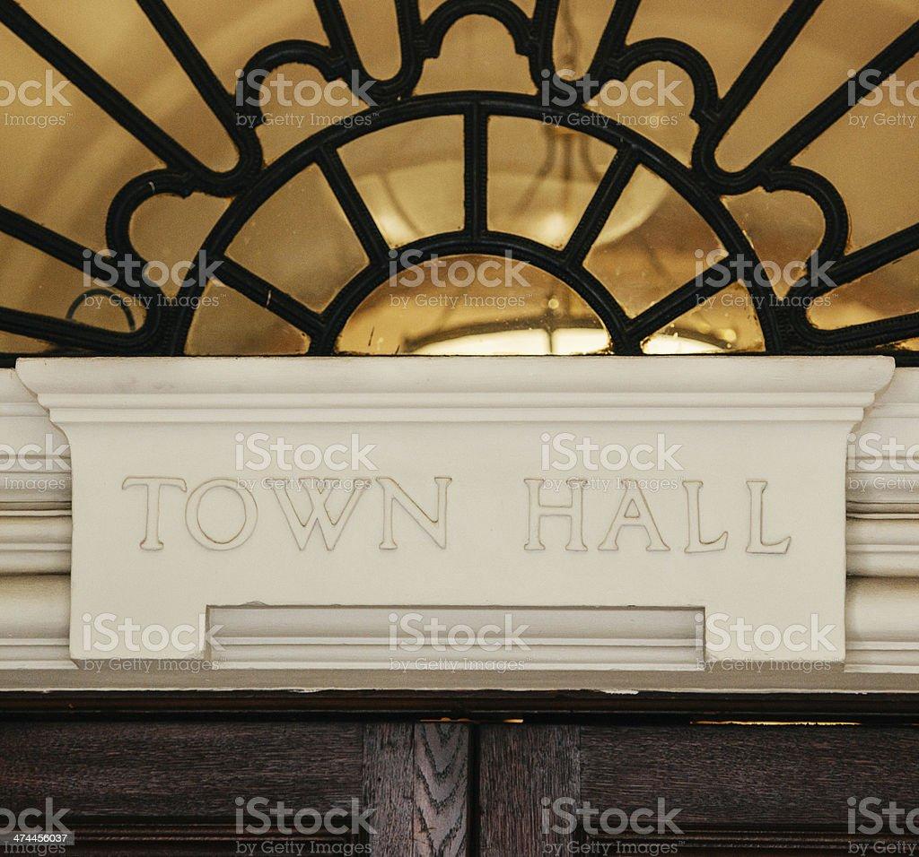 Town Hall sign above door stock photo