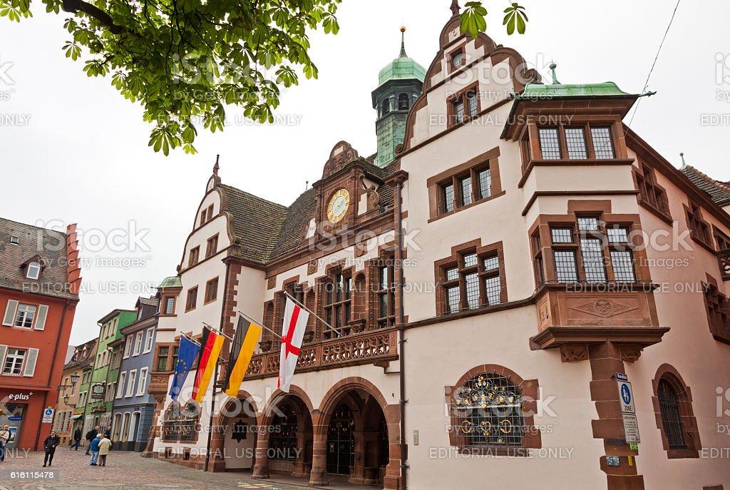 Town hall square in Freiburg im Breisgau, Germany stock photo