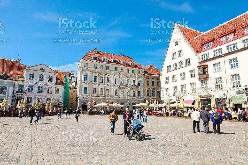 Town Hall square in old Tallinn city stock photo
