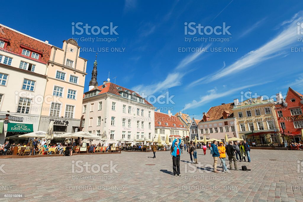 Town Hall square in old Tallinn stock photo