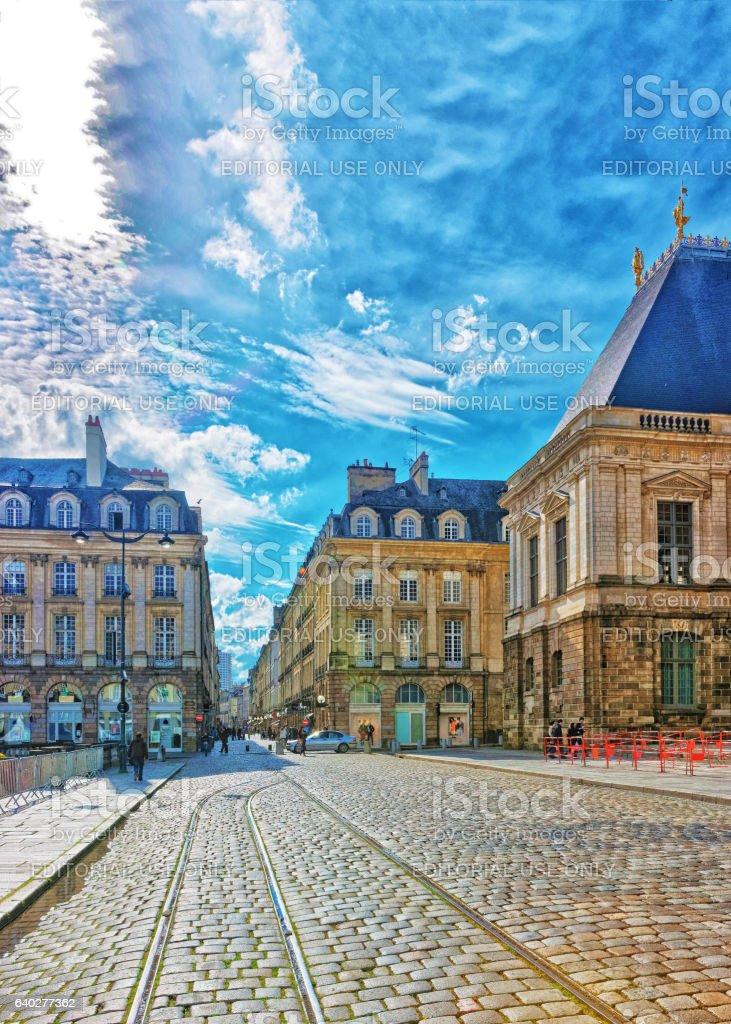 Town Hall Square in Rennes of Brittany France stock photo