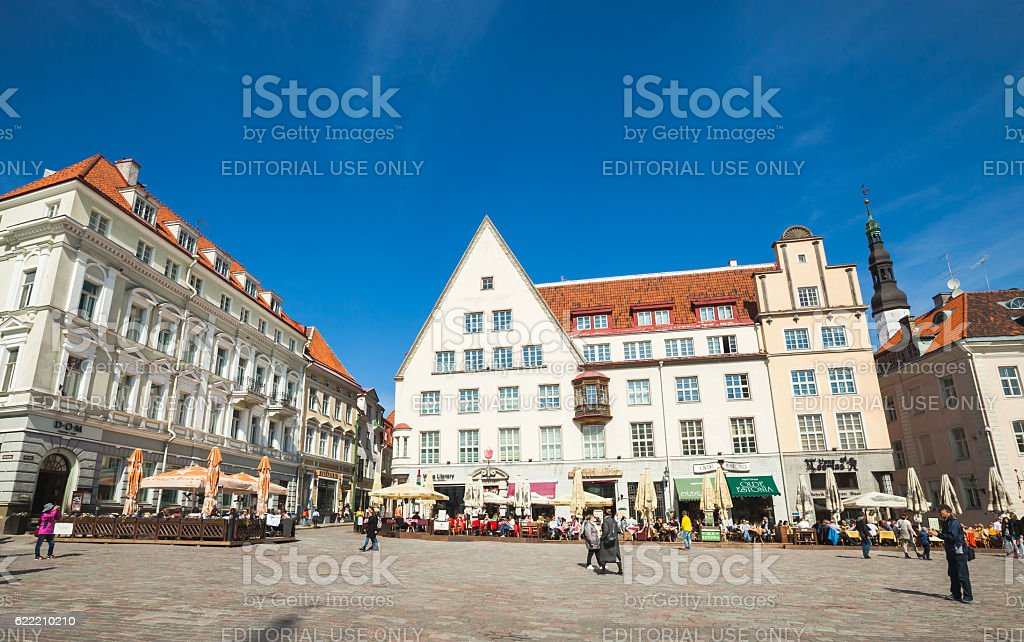 Town Hall square in Tallinn, bright day stock photo