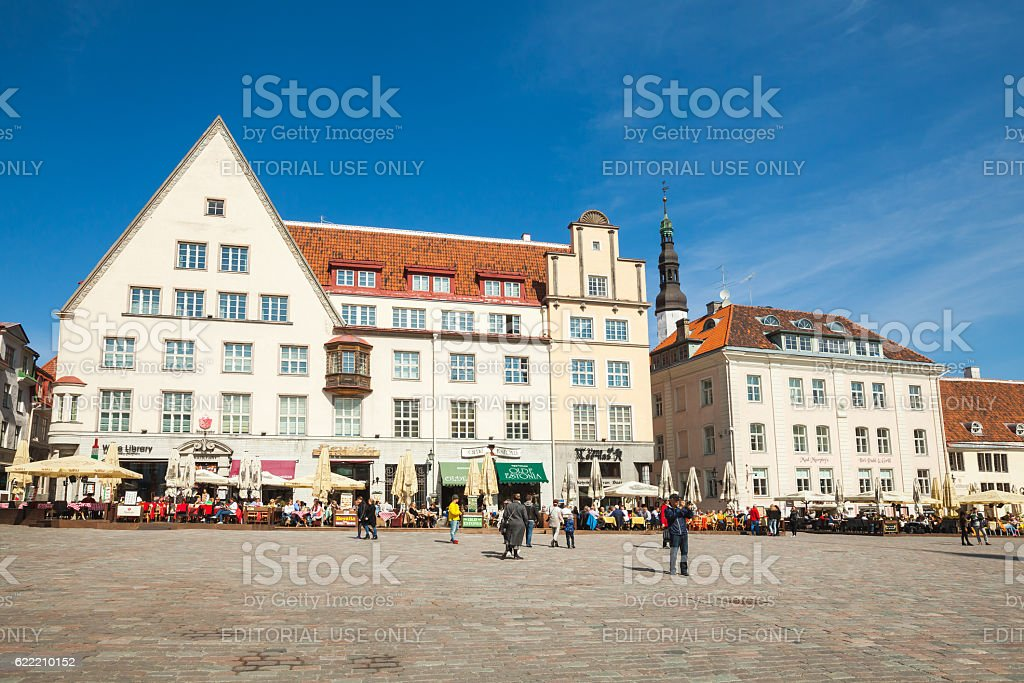 Town Hall square in Tallinn, streetview stock photo