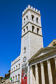 Town Hall tower and the temple of Minerva in Assisi
