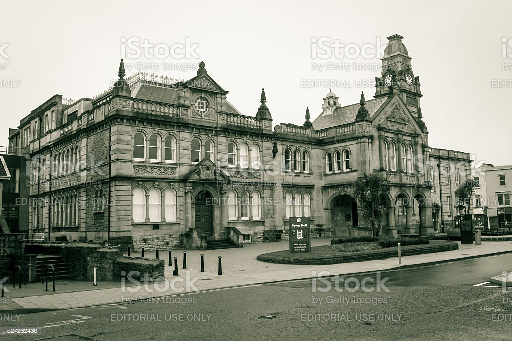Town Hall, view from Walliscote Rd stock photo