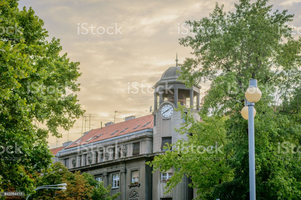Town hall with dramatic sky stock photo