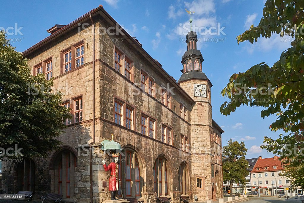 Town Hall with Roland of Halberstadt stock photo