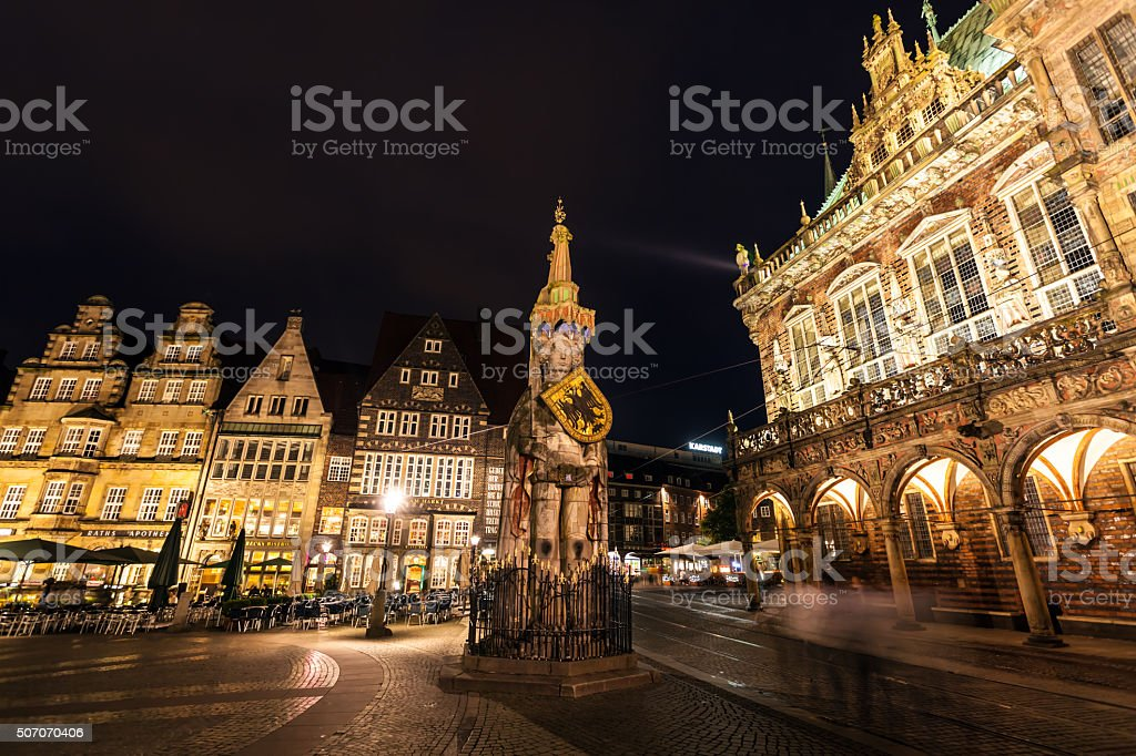 Town hall with Roland Statuel in Bremen by night stock photo