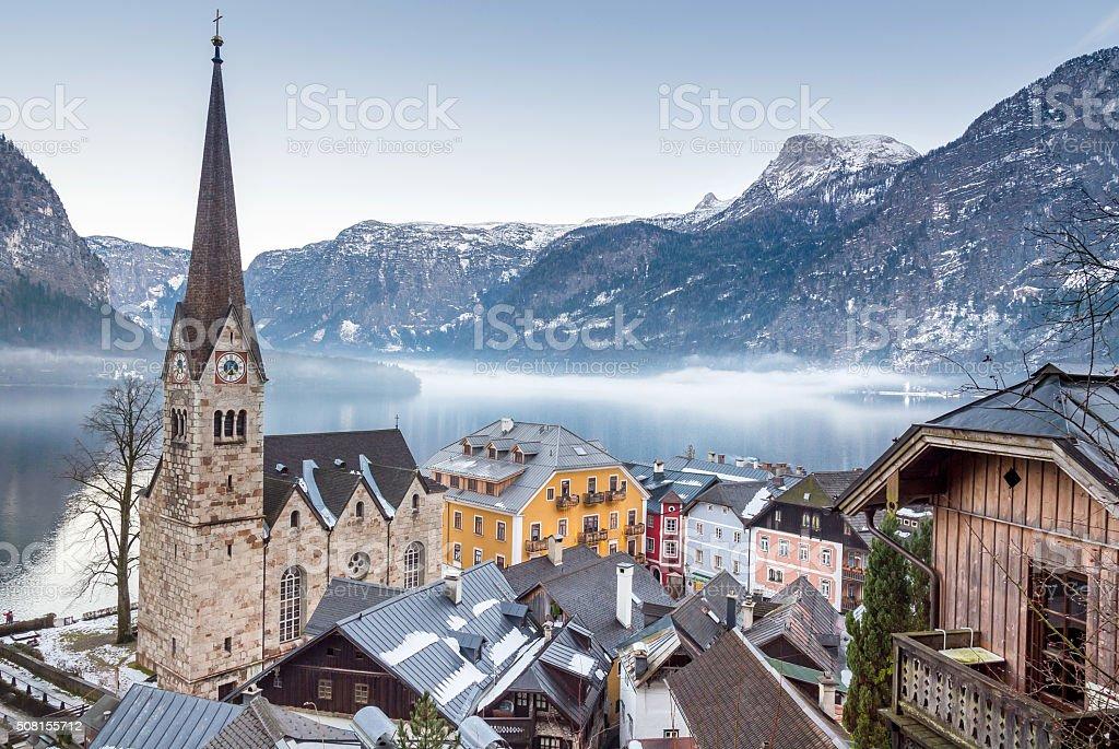Town Hallstatt on a misty Winter Day stock photo