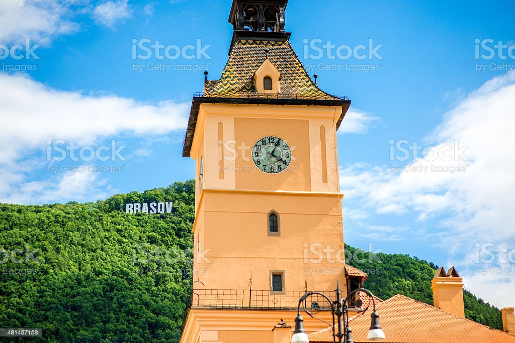 Town holl in Brasov stock photo