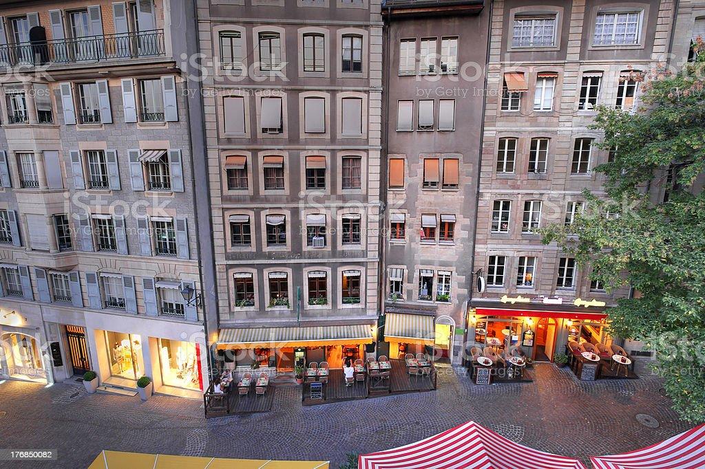 Town houses in Geneva, Switzerland stock photo