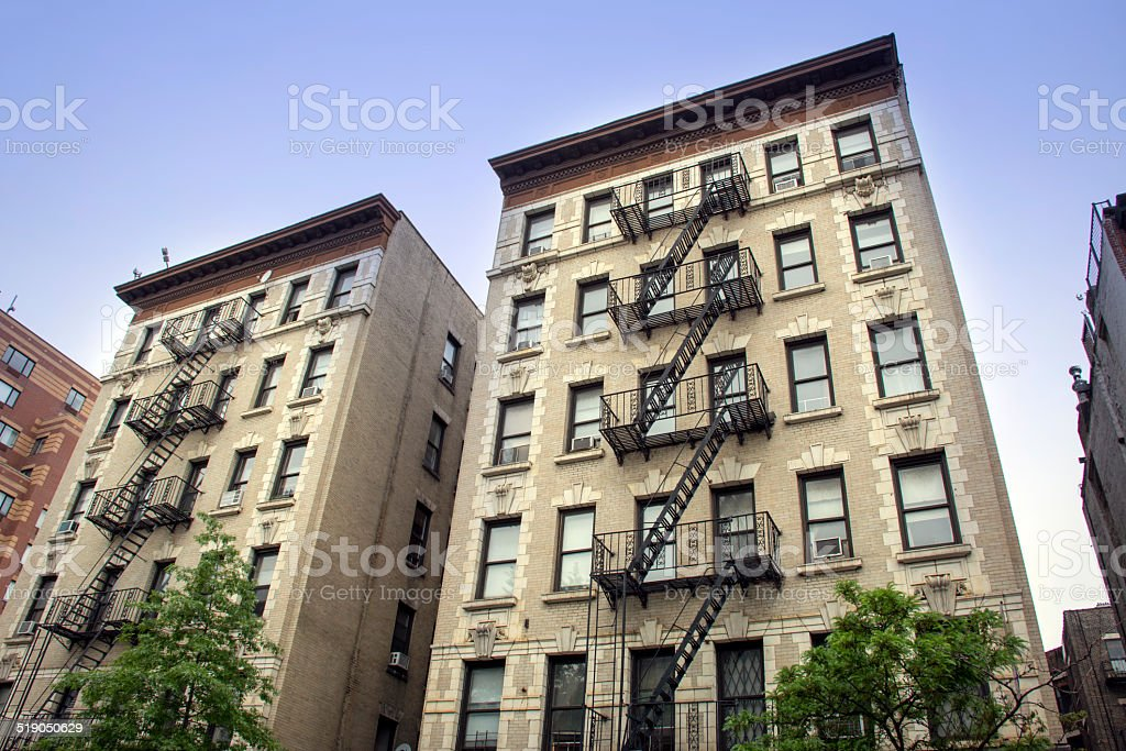 Town houses with fire steps in New York stock photo
