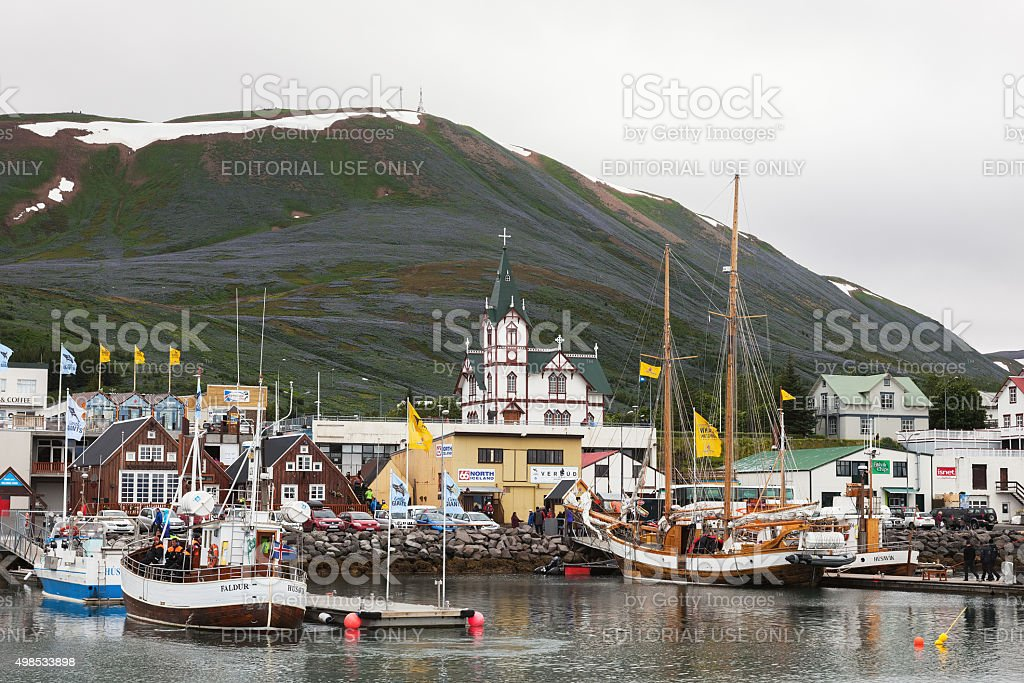 Town Husavik  - center of whale watching in Iceland stock photo