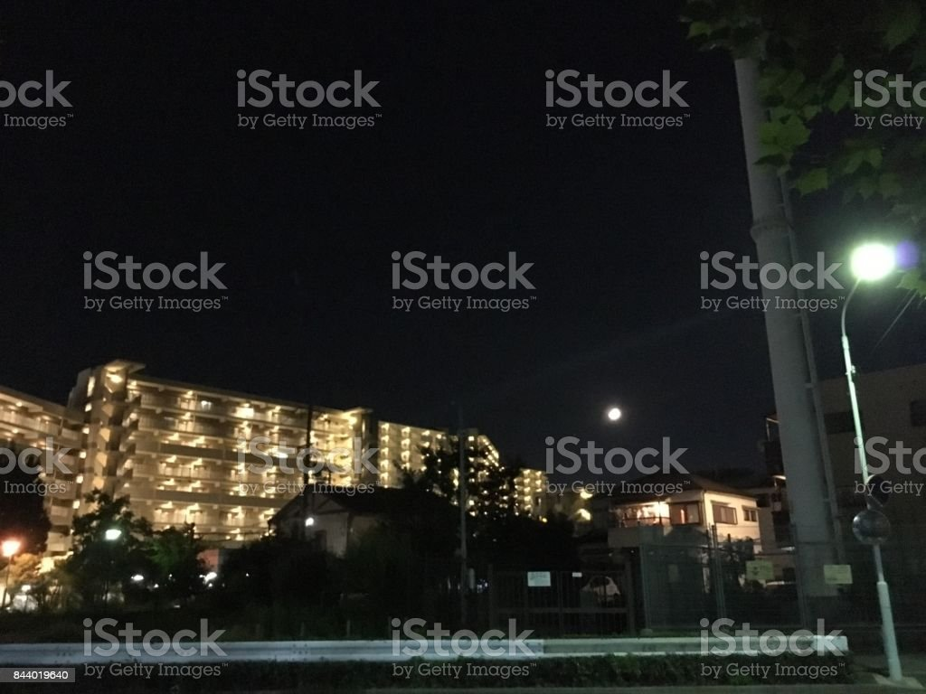 Town in the night stock photo