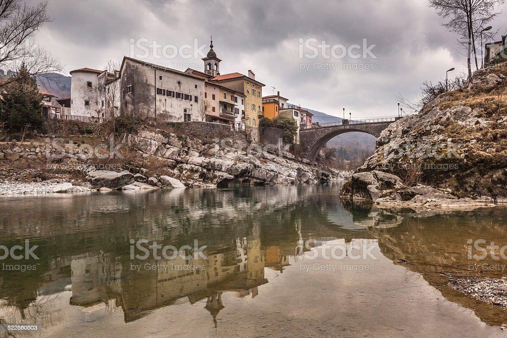 Town Kanal ob Soci and its reflections, Slovenia stock photo