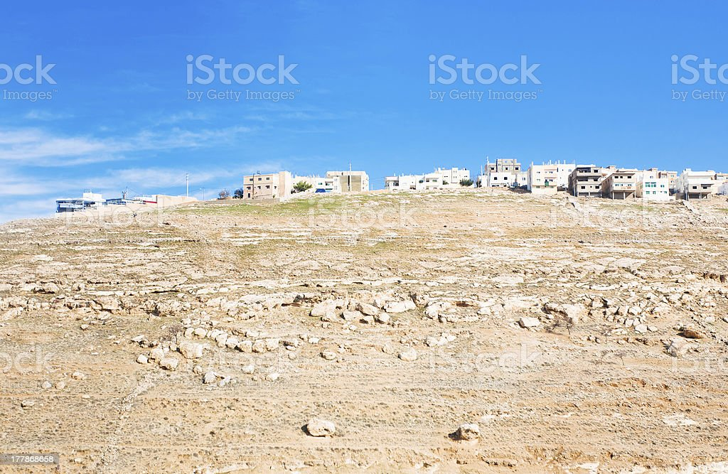 town Kerak on stone hill, Jordan royalty-free stock photo