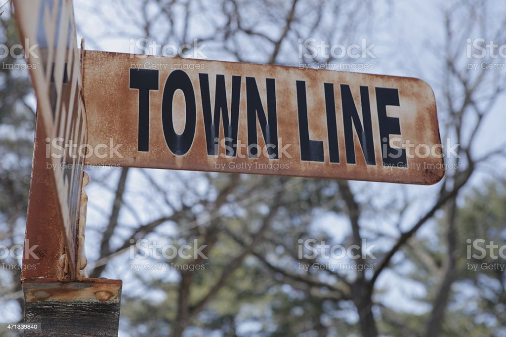 Town Line Street Sign - Pelham/Amherst stock photo