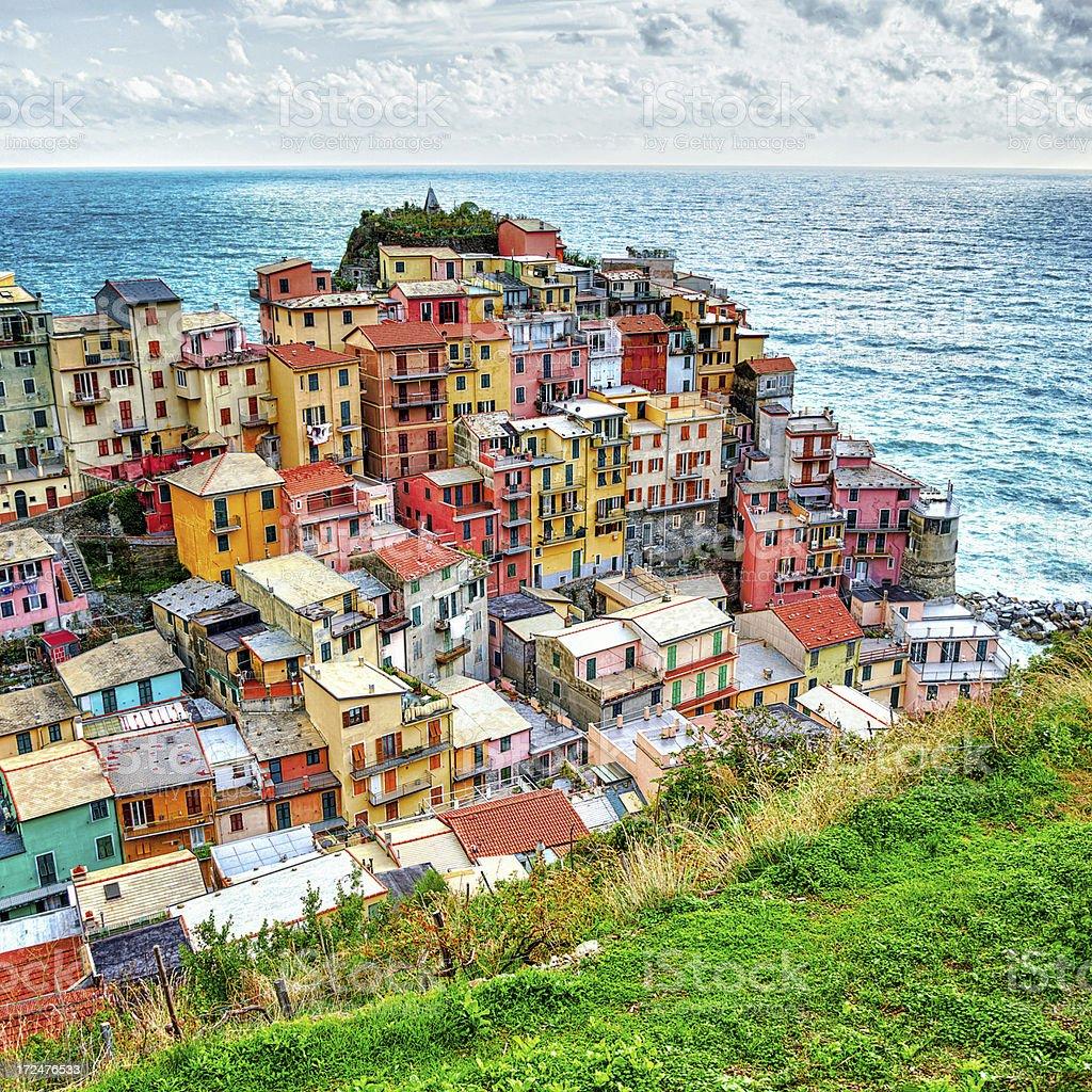 Town Manarola, Cinque Terre, Liguria, Italy stock photo