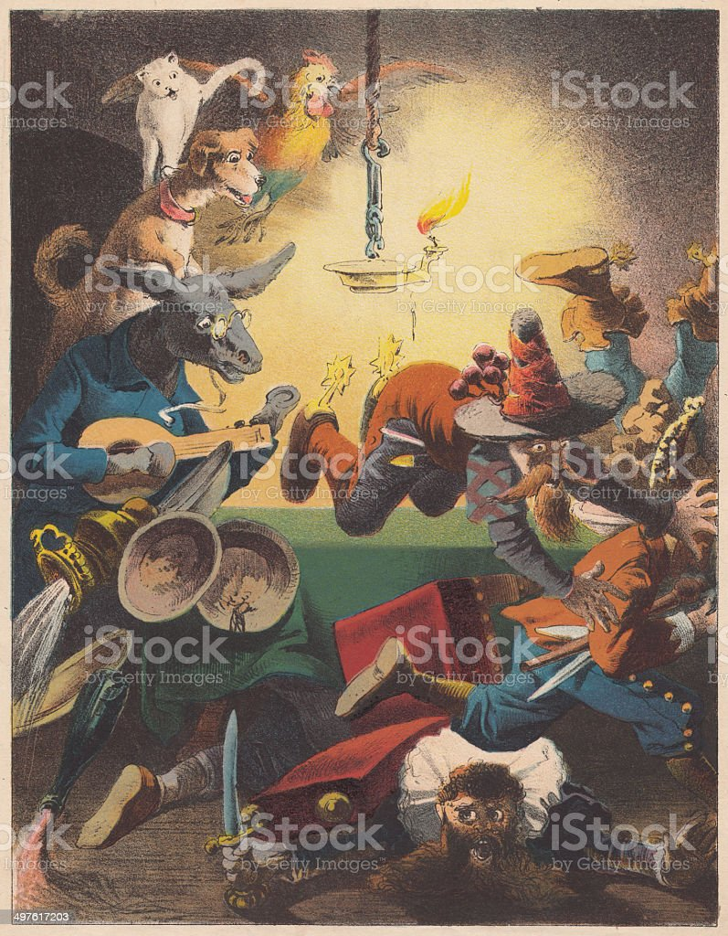 Town Musicians of Bremen, lithograph, published in 1875 stock photo