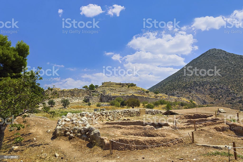 Town Mycenae ruins, Greece royalty-free stock photo