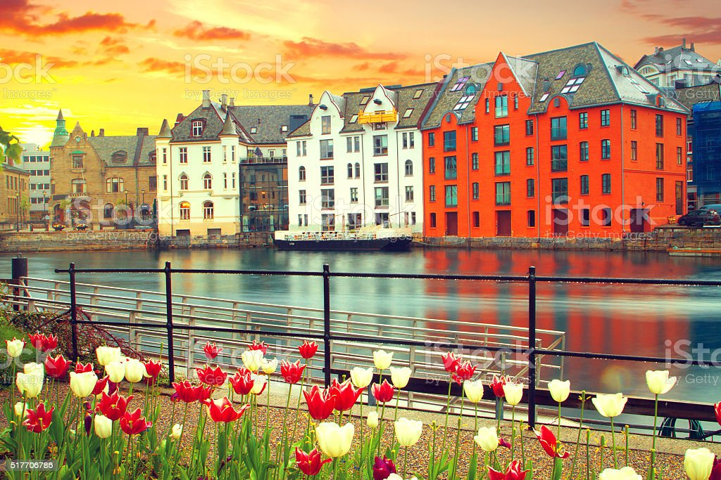 town of Aalesund stock photo