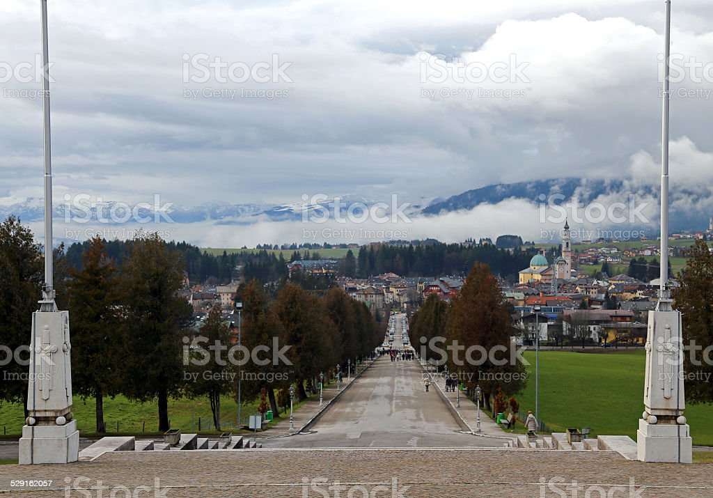 town of Asiago with clouds from the WAR MEMORIAL stock photo