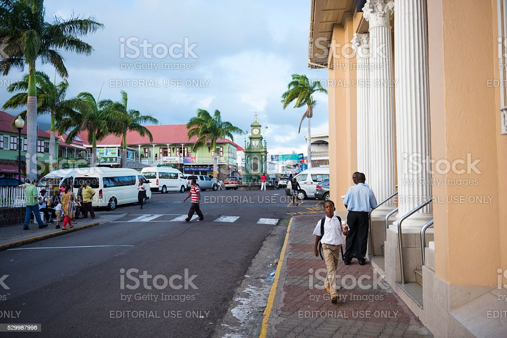Town of Basseterre in Saint Kitts and Nevis stock photo