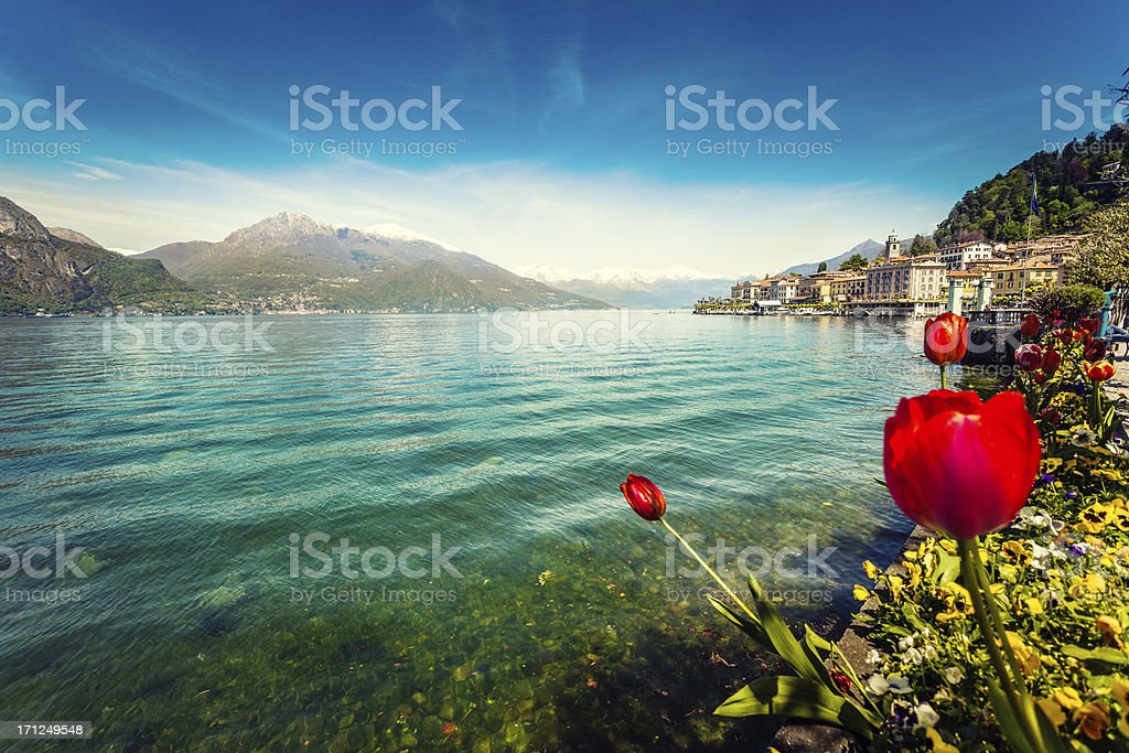 Town of Bellagio on Como Lake in Spring, Italy stock photo