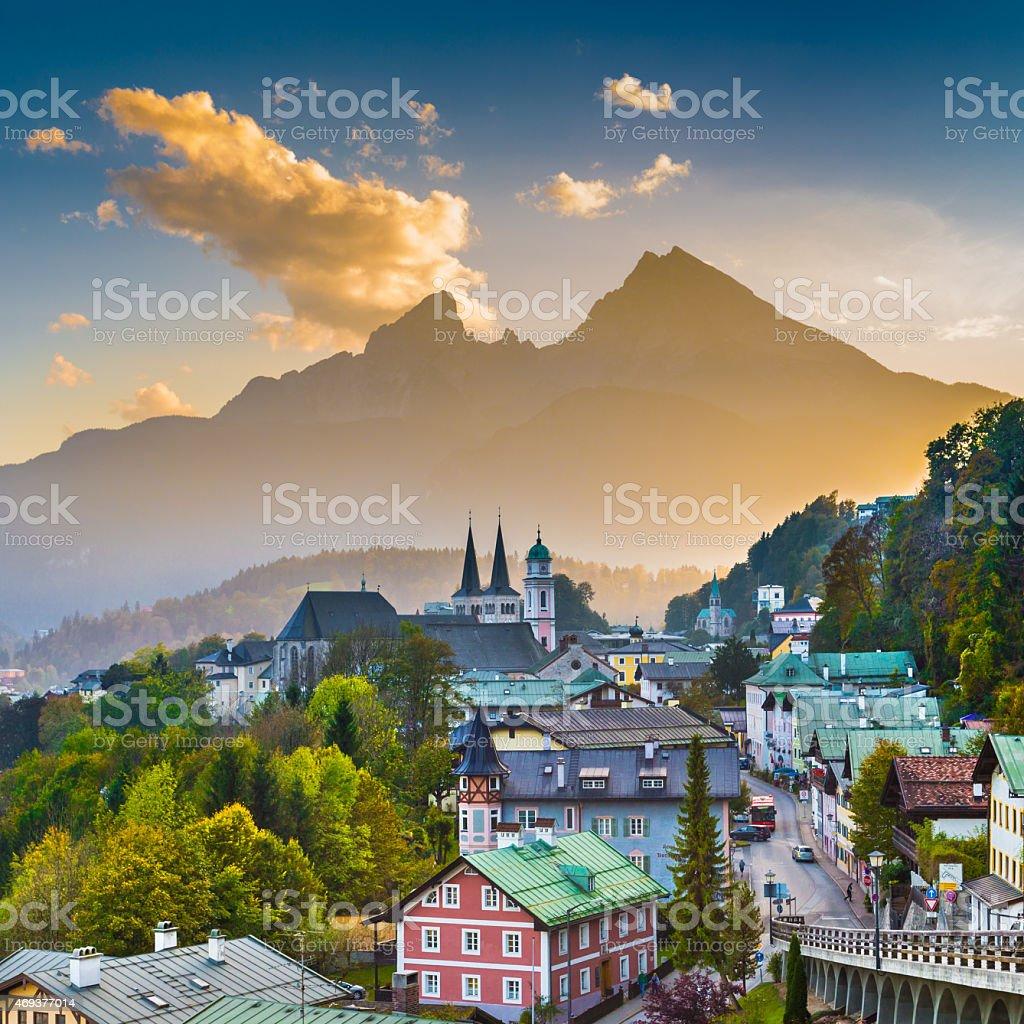 Town of Berchtesgaden with Watzmann mountain at sunset, Bavaria, stock photo