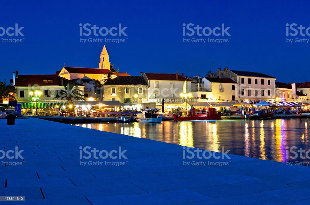 Town of Biograd evening view at blue hour stock photo