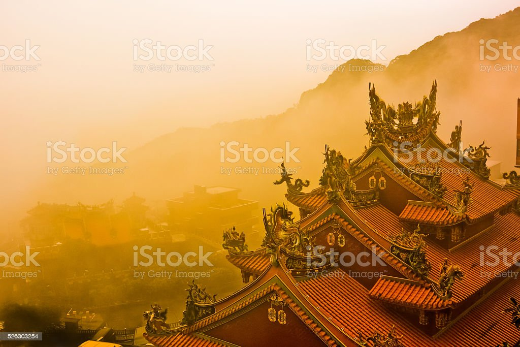Town of Chiufen wrapped in fog stock photo