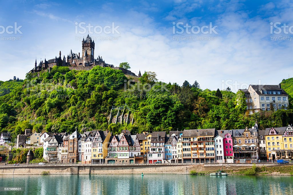 Town of  Cochem with the imperial Castle stock photo